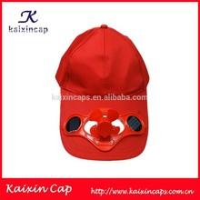 red plain blank solar cap with fan