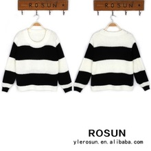 Pullover knitwear women black and white striped pattern sweater fabric
