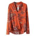 2015 distintivo de impresión y bordado de ropa de mujer de moda los modelos de blusas de gasa
