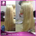 Venta al por mayor 100 brasileño virgen del pelo pelucas llenas del cordón parte media línea de cabello natural, color 613# 18 pulgadas larga rubia peluca del pelo humano