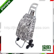 hand luggage carts durable round canvas and leather travel bag