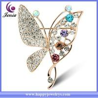 New sparkling Austrian crystal butterfly design 18k gold plated women wholesale bulk brooch ( YWZ4988)