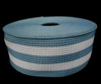 "Heavy Duty Light Blue White Stripe Grosgrain Ribbon Wrapping Binding Tape 1-3/16"" 3cm Thickness 1mm GR27"