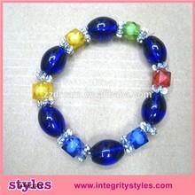 Handmade popular colorful glass bead kids bracelet promotion gift