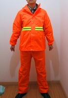 PVC coated mining work high visibility reflective safety rain suit with zipper and pockets