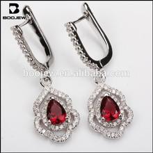Latest model water drop shape red glass stone earrings, beautiful 925 sterling silver earrings, 2015 charm fashion jewelry