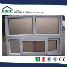 Fashion design China fuzhou white UPVC frame sliding glass reception window