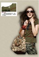 2015 summer new women's fashion uniformed army green v-neck short sleeve T-shirt women