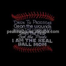 Baseball Mom - I Am the Real Ball Mom Rhinestone Iron On Strass Motif Hot Fix Designs Rhinestone Applique For Dresses