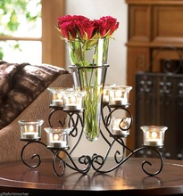 Romantic candle wedding centerpiece and flower stand