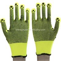 pvc dots led gloves yellow