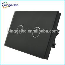 Australia standard touch switch,Glass panel 2gang 1way/2way Touch Sensor Switch116/118 mm size