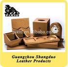 Alibaba Website Handmade Office Accessories Desk Set Leather