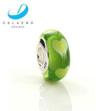 Stamped 925 Murano Bead/Apple Green Heart Murano Bead