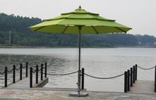 Malaysia Editha 7 star hotel garden water proof solar outdoor 3.5 MM Green steeless patio umbrellas