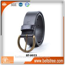 China new designer men 100% genuine leather belt with brass vintage pin buckle