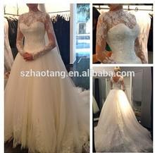L023 2015 custom made illision neck white lace wedding dress bridal gowns robe de mariee vestido de noiva vestido de novia