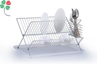 chrome plated metal kitchen foldable dish drying rack