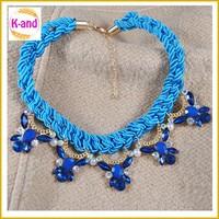 Multi colors simple string braid necklaces stones handmade felt necklace