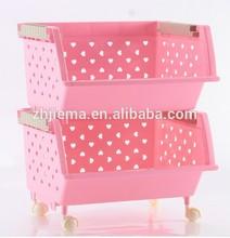 Two/Three Layers Pink Plastic Big Fruit and Vegetable Organizing Storage Stacking Basket