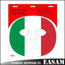 Italy flag design temporary tattoo sticker/body face tattoo/circle tattoo