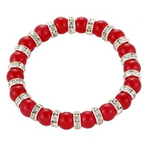 Luxury Beaded Shape Rhinestone Chinese Red Jade Nomination Bracelet Price 82390