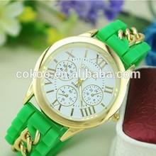 50pcs lot Luxury Silicone Geneva Women Golden Chain Wristwatch Fashion watch Dress Women Ladies Wholesale