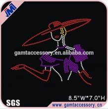 Red Hat Lady Rhinestone Heat Transfer Custom Designs