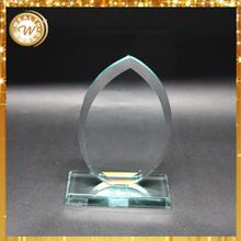 2015 hot sale green blank jade glass oval trophy