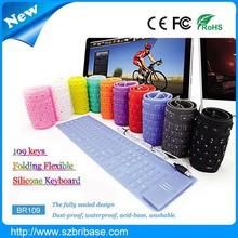 Hot Selling Waterproof 109Keys Multi-color Flexible silicone wireless keyboard for laptop