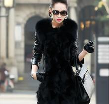Medium -long Europe style black high quality faux fur jacket