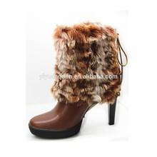 dark brown furry boots for women fur ball snow boots