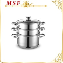 MSF-3433 Durable stainless steel wire handle connected by rivets 3 layer stainless steel food steamer heat resistant glass lid