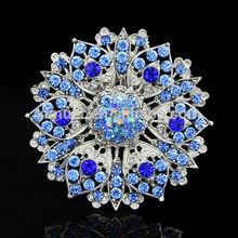 2015 Newest wholesale colorful flower rhinestone brooch