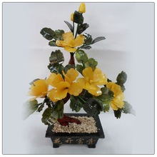 Beautiful small size Jade fengshui tree, decorative money tree 5 peony flower