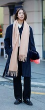 Ladies plain wool acrylic light tan long with tessels winter fashion scarf