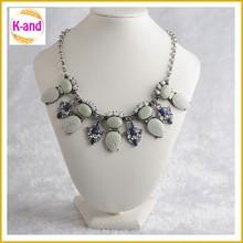 Light color jewelry collar drop shape pendant acrylic stone pizza necklace