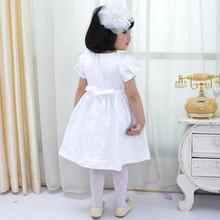 latest design children red/white satin dress infant skids satin dress