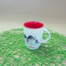 12oz stoneware sublimation glazed /colored mugs with printed dog