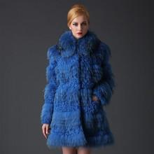 2015 women fashion real raccoon and lamb fur coat