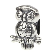 Wholesale On Tree Smart Owl 925 Sterling Silver Charm Jewelry for European Bracelet