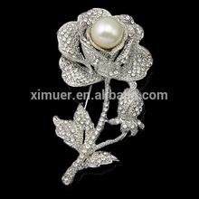2015 Newest popular rose flower rhinestone brooch