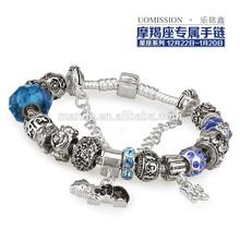 beads and charms bracelets high quality blue glass beads charm bracelets fit hand made bracelets