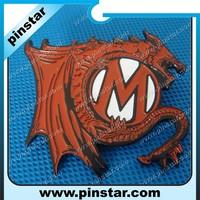 2015 Wholesales Customized Dragon M Badge Pin Manufacturer In China
