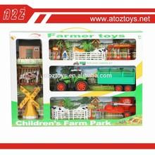 2015 hot sale plastic farm animal toy with car