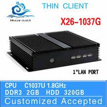 2015 newest model CPU celeron C1037U can oem/odm 2g ram DDR3 320g hdd 4*com 8*usb 1*RJ-45 thin client