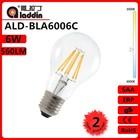 factory directly sell LED filament bulb a60 6w e27 230v/110v full glass