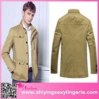 2015 wholesale Brand New British Stand Collar Wind Proof Khaki Cotton Jacket