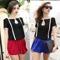 preto e branco do contraste de cor chiffon manga curta modelos de saia e blusa 17188