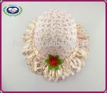 Special design summer beach straw children hat with flower